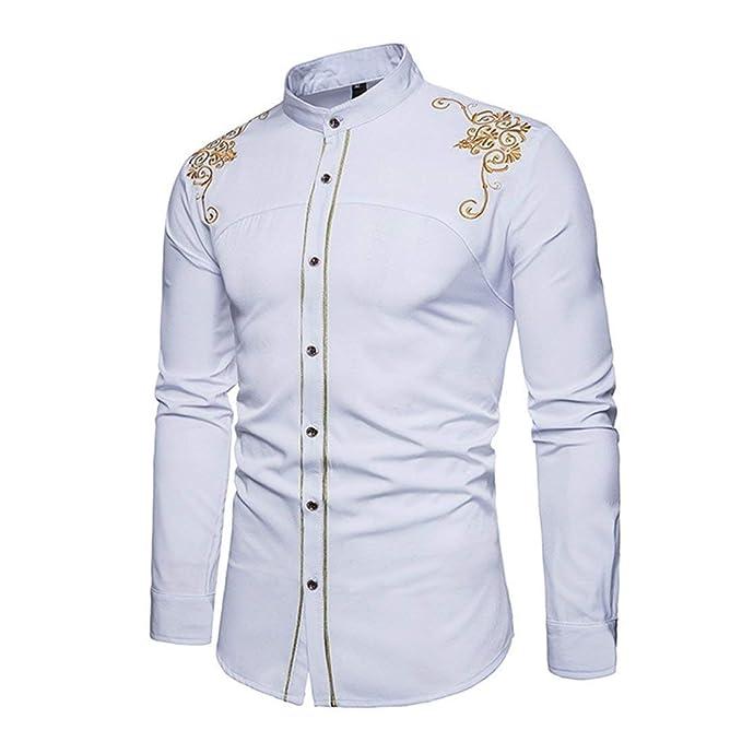 new concept a9a93 d9525 HX fashion Camicie da Uomo Camicia Slim Fit con Ricamo ...