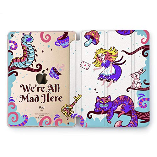 Wonder Wild We are All Mad Here Hard Case iPad 5th 6th Generation Mini 1 2 3 4 Air 2 Cover Pro 10.5 12.9 2018 2017 9.7 inch Alice in Wonderland Cartoon for Kids Protector Disney Flip Pictures Quote -