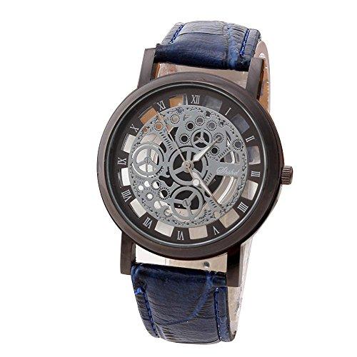 Han Shi Luxury Watch, Men Fashion Quartz Wristwatch Military Sport Leather Band Dial Clock (Large, J)