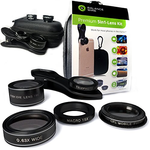Smartphone Camera Mobile Macro Lens for iPhone and Android phones. Set of 5 – Fisheye, Wide Angle, Macro, Telescope and CPL lenses for HD quality photos. With FREE case, carabiner and clip-on holder.