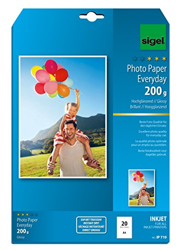 Sigel IP710 InkJet Everyday plus Photo Paper, glossy, 135.1 lbs, A4, 20 (2010 Calendar Card)