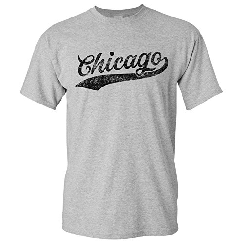 UGP Campus Apparel Chicago City Baseball Script Basic Cotton T-Shirt - Small - Sport Grey -