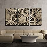 gears art - wall26 - 3 Piece Canvas Wall Art - a Mechanical Background with Gears and Cogs - Modern Home Decor Stretched and Framed Ready to Hang - 24