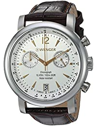 Men's 'Urban Classic Chrono' Swiss Quartz Steel-Two-Tone and Leather Casual Watch, Color:Brown (Model: 01.1043.110)
