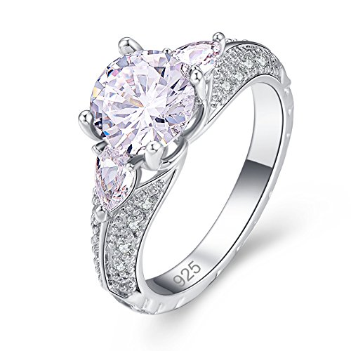 Psiroy 925 Sterling Silver Created White Topaz Filled Cocktail Promise Ring for (Beautiful Promise Rings)
