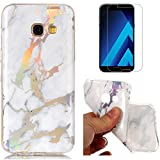 For Samsung Galaxy A5 2017 A520 Marble Case White,OYIME Unique Luxury Glitter Colorful Plating Pattern Skin Design Clear Silicone Rubber Slim Fit Ultra Thin Protective Back Cover Glossy Soft Gel TPU Shell Shockproof Drop Protection Protective Transparent Bumper and Screen Protector