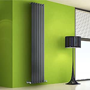 Hudson Reed Radiador de Diseño Vertical - Antracita - 1780mm x 420mm x 60mm - 1050 Vatios - Rombo