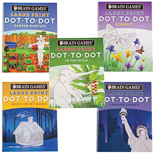 Prints Booklet - Brain Games 5 Booklet Set - Large Print Dot to Dot