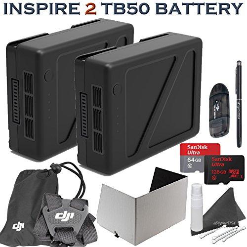 DJI Inspire 2 TB50 Intelligent Flight Battery Power Bundle: Includes 2 TB50 4820mAh Batteries, Remote Monitor Hood (Tablet), Controller Strap, SanDisk 64GB & 128GB MicroSD Cards, Stylus Pen & more... by eDigitalUSA