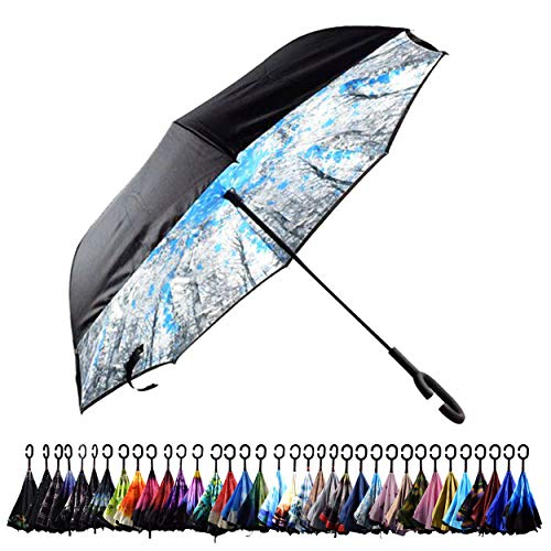 Aplus Trend Newest Windproof Double Layer C-Handle Inverted Umbrella with Fabric Cover Reverse Umbrella for UV Protection & Rain   Outdoor Car Umbrella for Women & Men (Crystal Blue)