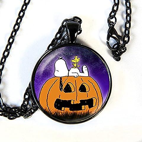 Snoopy Halloween - Pendant Necklace - peanuts - HM (Frankenstein Cabochon)