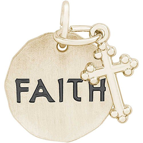 Rembrandt Faith Charm Tag with Cross, Gold Plated Silver