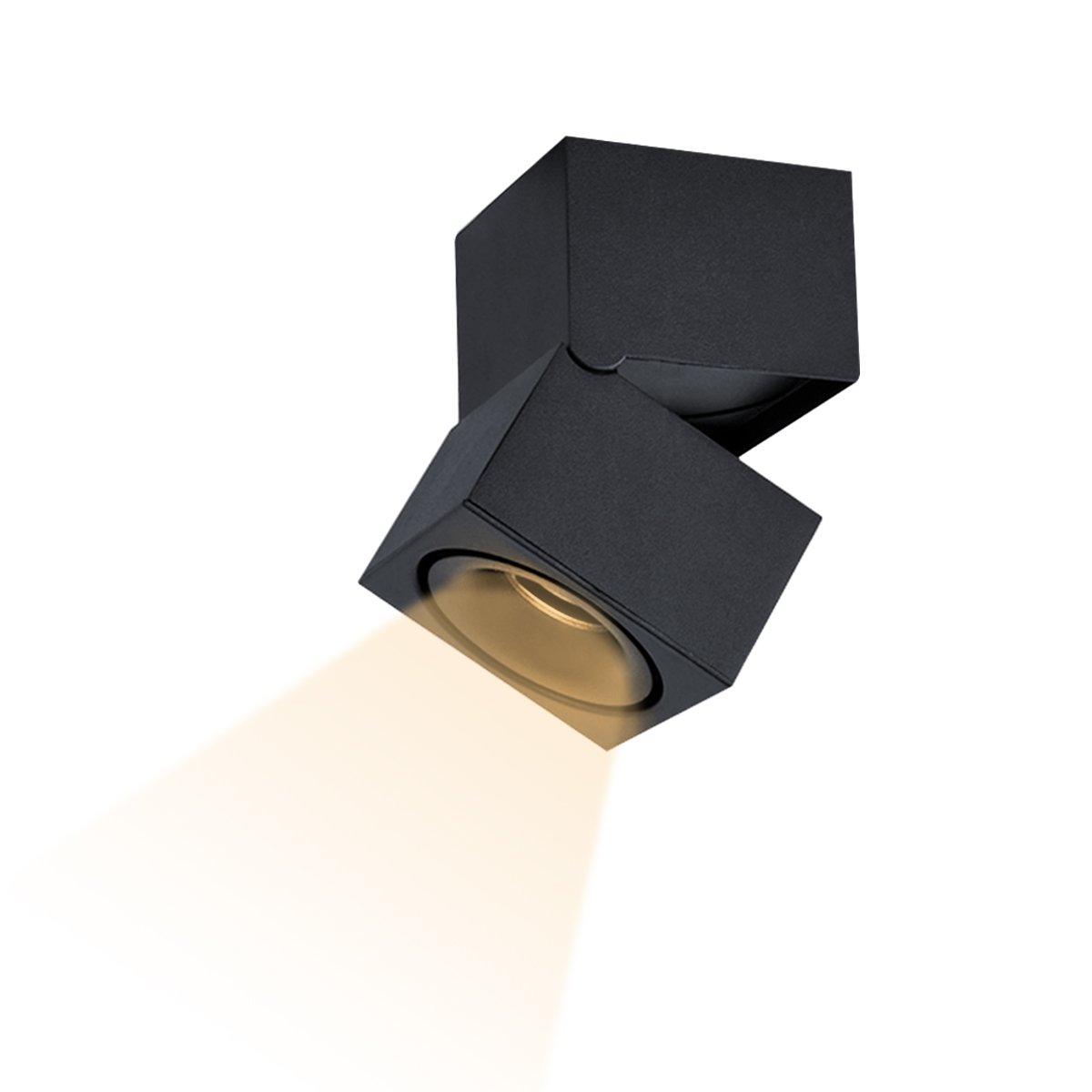 Dslg Indoor 15W LED Spotlight 360°Adjustable Ceiling Downlight/Surface Mounted COB Lighting LED/10X15CM/Aluminum Wall Lamp Or Spot Light (Black)