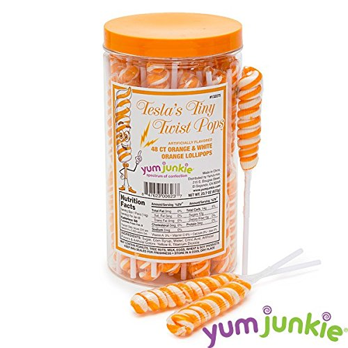 Tiny Twist whirly swirl Pops Orange and White Lollipops 48 Count (Whirly Suckers)