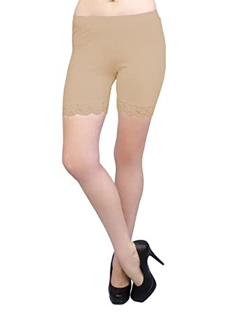d89d726329baa Vivian's Fashions Legging Shorts - Cotton, Lace Trim, Junior Size (Beige,  Small