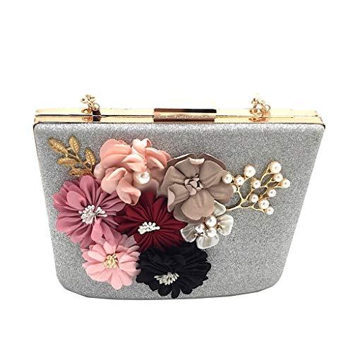 De Flores Plata Bag Idea Angkorly Mini La Borse Tote Fiestas Noche Bodas Moda Para Y Strass Glitter Rígida Mujer Crossbody Clutches Regalo Elegante Envelope Bandolera 0xwRqS8Bx