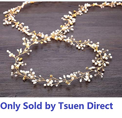 TQsuen Bridal Hair Vines Crystals Wedding Headpieces, 20 Inches Handmade Crystal Pearl Wedding Evening Party Headpiece Head Band Bride Wedding Hair Accessories for Bridesmaid and Flowergirls, Gold -