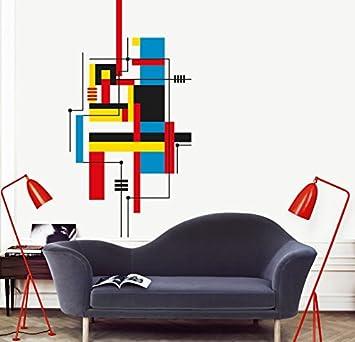 Bauhaus Wandtattoo myvinilo wandtattoo bauhaus schwarz hellblau rot