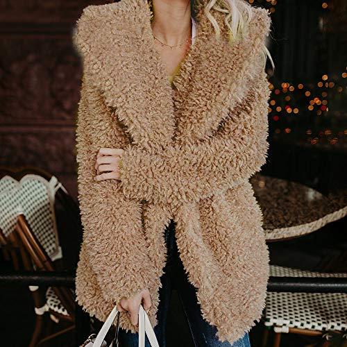 Cher Jacket Laine Outerwear Longues Mode Fausse Épais Manche Pas A Hiver Vestes La 2018 Cardigan Manteau Kaki Chaud Fourrure En À dHqFzv