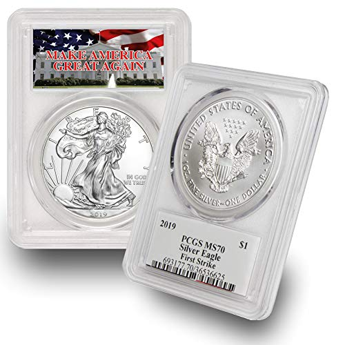 2019 American Silver Eagle $1 MS70 PCGS First Strike Make America Great Again (MAGA) .999 Fine Silver US Mint ()