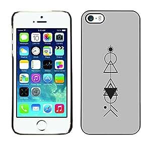 Polígono matemático modelo gris- Metal de aluminio y de plástico duro Caja del teléfono - Negro - iPhone 5 / 5S