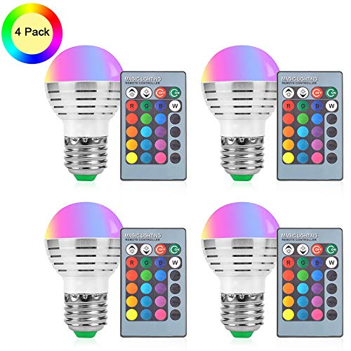 Aifulo LED Color Changing Light Bulb, 4 Pack 3W Dimmable RGB Light Bulbs, E27 E26 Screw Base RGBW 16 Color with IR Remote Control for Home Bar Party KTV Stage Mood Ambiance Lighting