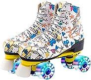 XUDREZ Roller Skates for Women Men Microfiber Leather Fashion Roller Skates Shiny Four Wheels Roller Skates Hi
