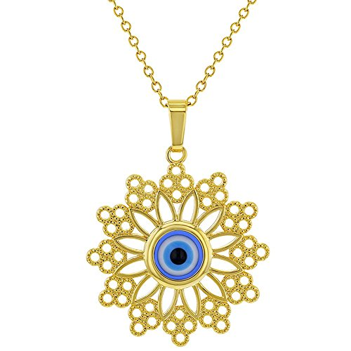 Greek Evil Eye Necklace - 18k Gold Plated Blue Greek Evil Eye Protection Nazar Medal Pendant 19