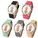 Top Plaza Women Fashion Rose Gold Tone Quartz Analog Watch PU Leather Strap Pineapple Pattern 3ATM Waterproof Casual Wrist Watch