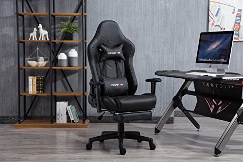 Morfan Gaming Chair Massage Function Swivel Ergonomic Color Collision Stitching Design Professional E-Sports Chair with Adjustable Headrest & Lumbar and Footrest (All Black)