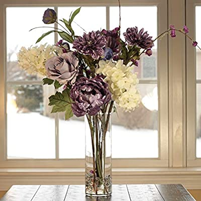 Purple Majesty Bouquet For Sale / Offer | Artificial Flower Arrangement in Glass Vase with Hydrangea, Ranunculus, Rose, Peony | Wedding Anniversary Gift | Olivia Rose Designs and Home on Amazon.com