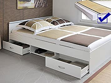 Funktionsbett 140x200 Weis ~ Jugendbett bett cm weiss lattenrost matratze