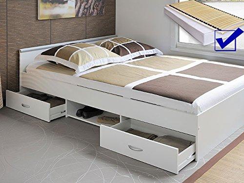 Jugendbett Bett 140x200 Cm Weiss Lattenrost Matratze