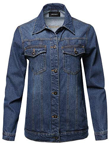 Casual Washed Long Sleeves Boyfriend Fit Denim Jacket Medium Blue Size M