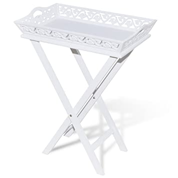 Anself - Mesa auxiliar plegable con bandeja, color blanco