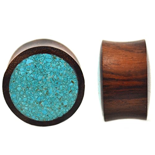 Pair of Crushed Synthetic Turquoise Inlay/Brown Wood Plugs Organic Ear Gauges - 5/8 Inch (16mm) ()