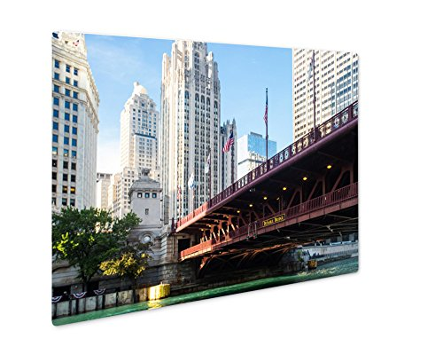 Ashley Giclee Metal Panel Print, The Iconic Dusable Bridge And Michigan Ave In Chicago Illinois USA On A Hot, Wall Art Decor, Floating Frame, Ready to Hang 16x20, - Water Ave Tower Michigan