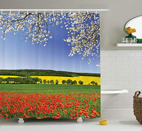 Ambesonne Flower Shower Curtain, Poppy Field with a Spring Landscape and Blossom Tree View in Meadow Nature Image, Cloth Fabric Bathroom Decor Set with Hooks, 75