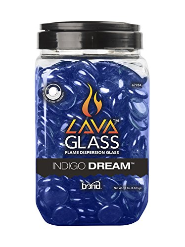 Bond 67984 Round Lava glass for Gas Fire Pit, 10 Pound Fire Pit Glasses, Indigo (Rock Fire Pits)