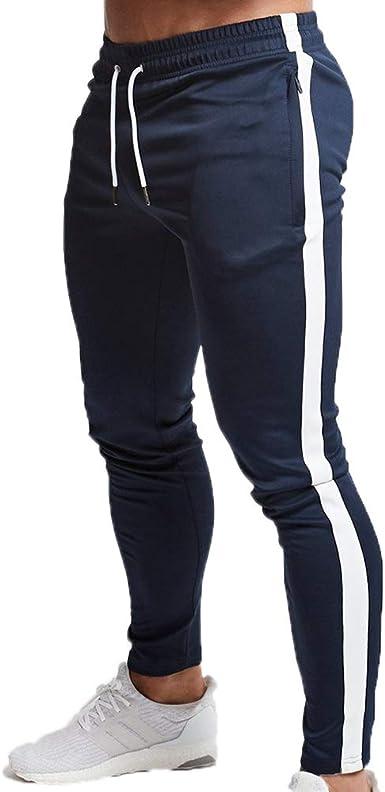 Huateng Pantalones de chándal Hombres Fitness Culturismo Gimnasios ...