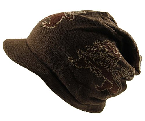 Lion Dread Knit Beanie Visor (Brown)