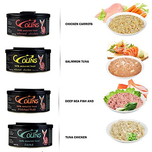 Amyove Comida húmeda de Gato de Mascota Carne Fresca Puede Pollo Zanahoria/atún/Carne de Cangrejo de Pescado de Alta mar