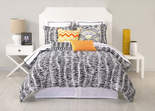 Trina Turk 3-Piece Zebra Stripe Duvet Set, King, Black