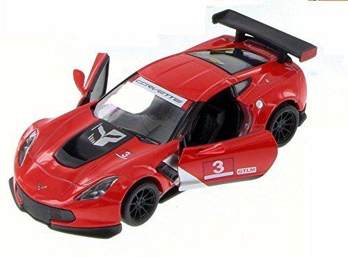 Chevy Corvette C7 Race Car #3, Red w/ Decals - Kinsmart 5397D - 1/36 Scale Diecast Model Toy Car (Brand New but NO BOX) Corvette Race Car