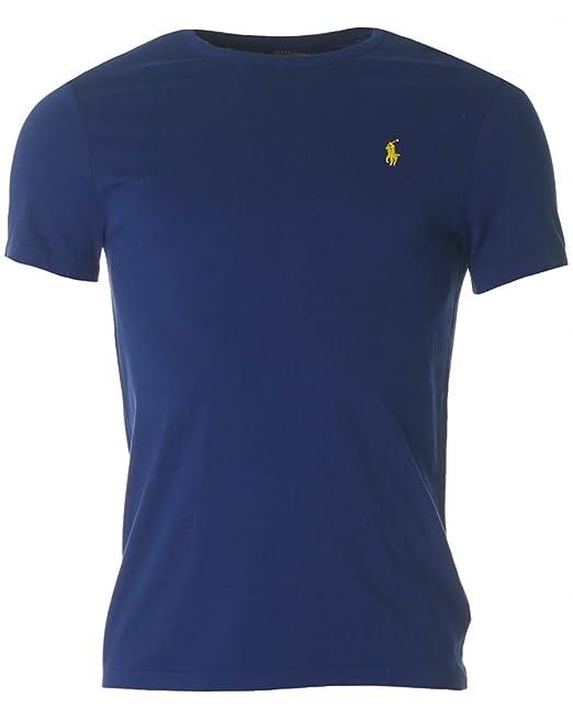 Ralph Liso Azul Corta Hombre Manga Para Fall Lauren Camiseta sdCtQhr