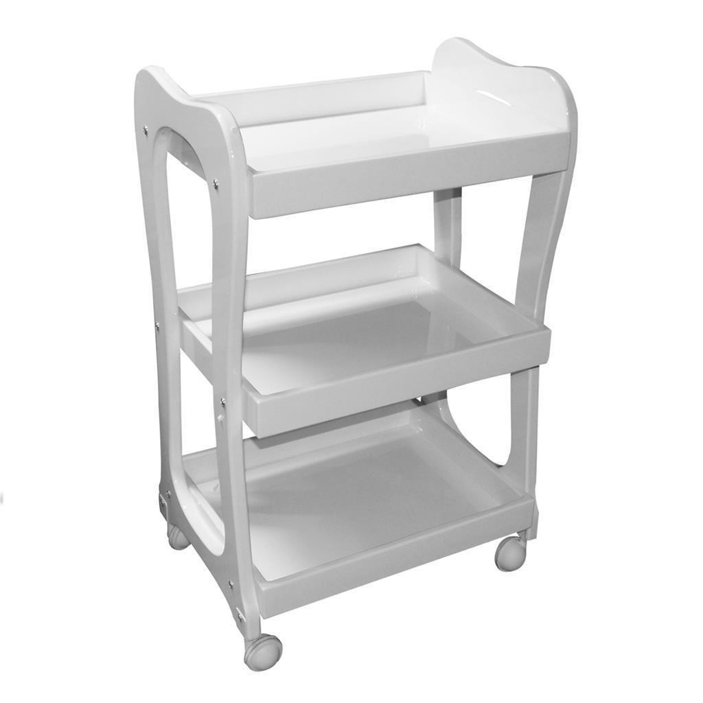 3 Shelf White Storage Wooden Tray Trolley Rolling Beauty Salon Hair Spa Cart