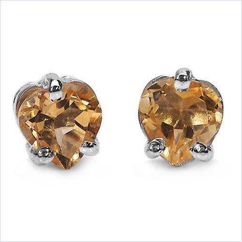 Bijoux Schmidt-Coeur Boucles d'oreilles en argent sterling plaqué rhodium avec Citrine