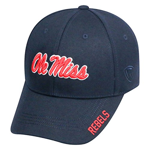 Caps Rebels Hats - Top of the World NCAA-Premium Collection-One-Fit-Memory Fit-Hat Cap-Mississippi Ole Miss Rebels