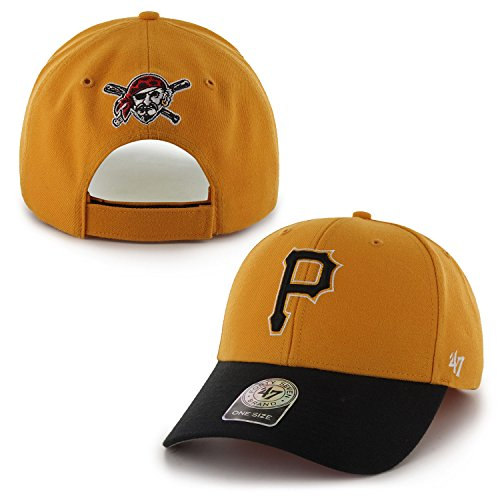 "Pittsburgh Pirates 47 Brand MLB ""MVP"" Structured Adjustable Hat - Gold/Black"