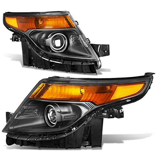 For Ford Explorer 5th Gen U502 Pair of Black Housing Amber Corner Projector ()